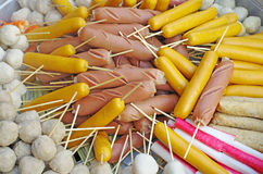 Mix Sausage and Meat ball. Skewer bamboo stream Stock Image