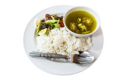 Mix sausage, rice and boiled chicken. Royalty Free Stock Photos