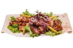 Mix shish kebab. On white background Royalty Free Stock Photos