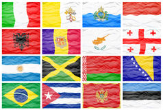 Set sixteen different national big flags. Stock Photos