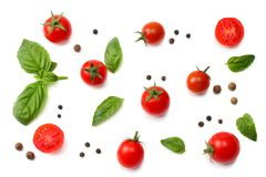 Mix of slice of tomato, basil leaf, garlic and spices isolated on white background. top view royalty free stock photography