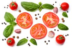 Mix of slice of tomato, basil leaf, garlic and spices on white background. top view stock images