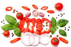 Mix of slice of tomato, basil leaf, garlic, sweet bell pepper and spices isolated on white background. top view stock image