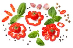 Mix of slice of tomato, basil leaf, garlic, sweet bell pepper and spices isolated on white background. top view royalty free stock photography