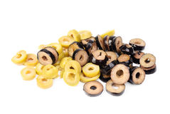 Mix sliced green and black olives Stock Photos