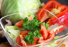 Mix of sliced ingredients for vegetable salad Stock Photo