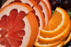 Mix of slides fruits orange melon stock images
