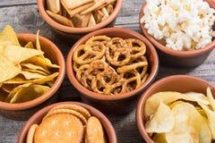 Mix of snacks stock photo
