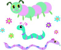 Mix of Snakes, Worm, Caterpillar, and Flowers Stock Image