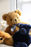 Mix of soft toys in the children room Stock Images