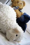 Mix of soft toys in the children room Royalty Free Stock Photos