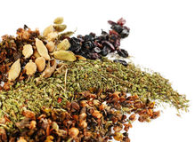 Mix spice. With barbery and cardamom on white royalty free stock images