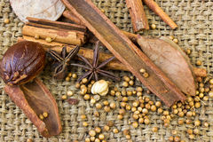 Mix of spice Cinnamon And Star Anise on sack Stock Photos
