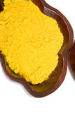 Mix spice yellow. Wood plate Stock Photography