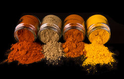 Mix Spices On Black VII Royalty Free Stock Images
