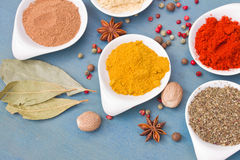 Mix of spices on blue  table close up Royalty Free Stock Image