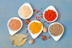 mix of spices on blue  table Stock Images