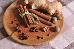 Mix of spices. Cinnamon, ginger, anisetree, nutmeg on background royalty free stock photo