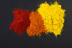 Mix of spices on dark background. Tumeric, paprika Stock Photo