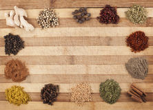 Mix spices frame Royalty Free Stock Photos