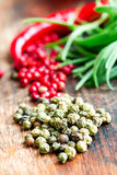 Mix of spices and herbs on table macro Stock Photography