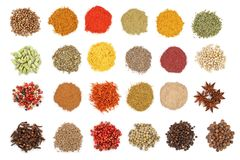 Mix of spices isolated on a white background. Top view. Flat lay. Set or collection. Mix or various kinds of spices isolated on a white background. Top view royalty free stock image