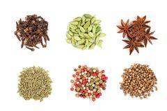 Mix of spices isolated on a white background. Top view. Flat lay. Set or collection. Mix or various kinds of spices isolated on a white background. Top view royalty free stock photos