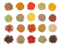 Mix of spices isolated on a white background. Top view. Flat lay. Set or collection. Mix or various kinds of spices isolated on a white background. Top view royalty free stock photo
