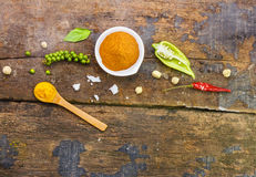 Mix spices main subject Cinnamon powder on wood texture for deco Royalty Free Stock Photos
