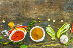 Mix spices mix on wood texture. Royalty Free Stock Photo