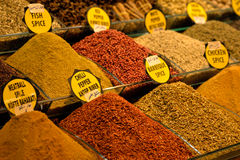 Mix of spices at the open air market. Stock Photos