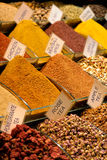 Mix of spices at the open air market. Royalty Free Stock Photography