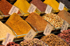 Mix of spices at the open air market. Royalty Free Stock Photos