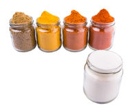 Mix Spices And Salt On White V Royalty Free Stock Images