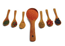 Mix of spices on spoons. Royalty Free Stock Image
