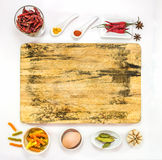 Mix spices on white background for design or decorate project. Stock Photo