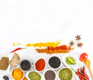 Mix spices on wood texture background for decorate project. Stock Image