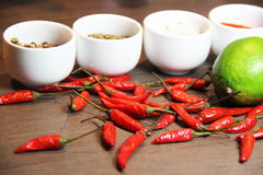 Mix of spices on the wooden background Stock Photos
