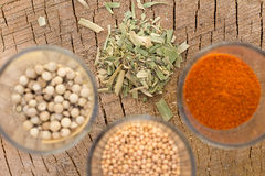 Mix of spices on wooden background Royalty Free Stock Photography