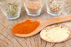 Mix of spices on wooden background Stock Photos