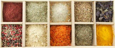 Mix Spicy Spices in box. As background Stock Photos