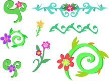 Mix of Spiral Vines and Flowers Stock Photos
