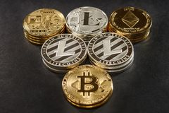 Mix of stack bitcoin, litecoin and ethereum. Cryptocurrency concept Royalty Free Stock Photo