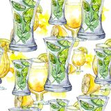 Mix of summer cocktails bar party drink. Nightclub isolated icon sketch drawing. Seamless background pattern. Mix of summer cocktails bar party drink. Seamless stock photo