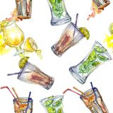 Mix of summer cocktails bar party drink. Nightclub isolated icon sketch drawing. Seamless background pattern. Mix of summer cocktails bar party drink. Seamless stock photography