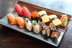 Mix sushi. On a plate royalty free stock image