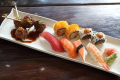 Mix sushi. On a plate royalty free stock photo