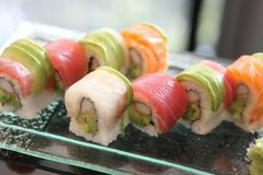 Mix sushi rolls. On a plate stock photo
