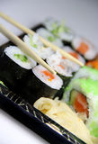 Mix of sushi specialties Royalty Free Stock Photos