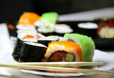 Mix of sushi specialties Royalty Free Stock Photo